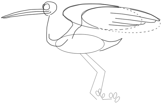 Step 5 : Drawing Cartoon Storks and Babies in Easy Steps Lesson