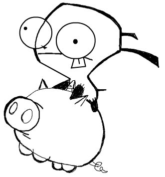 Step 6 : Drawing GIR holding Pet Piggy in Easy Steps Lesson