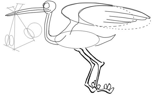 Step 6 : Drawing Cartoon Storks and Babies in Easy Steps Lesson