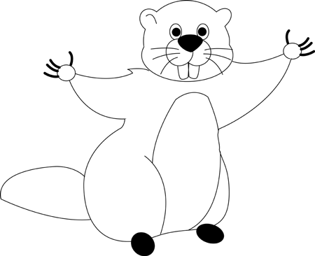Step 6 : Drawing Cartoon Groundhogs step by step drawing lessons