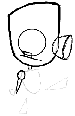 Step 6 : Drawing Robot GIR from Invader Zim Step by Step Tutorial