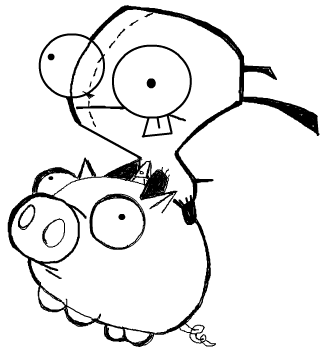 Step 7 : Drawing GIR holding Pet Piggy in Easy Steps Lesson