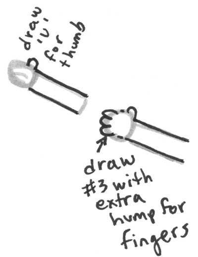 Step 7 : Drawing Cartoon baby from letter b and number eight