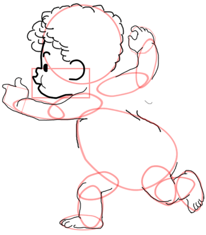 Step 7 : Drawing Baby Cupid Step by Step Tutorial