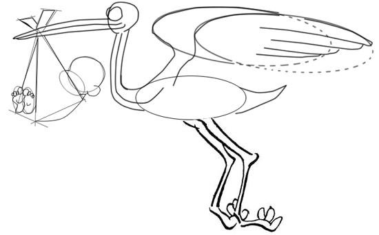 Step 7 : Drawing Cartoon Storks and Babies in Easy Steps Lesson