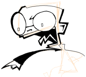 Step 7 : Drawing Dib from Invader Zim Easy Steps Lesson