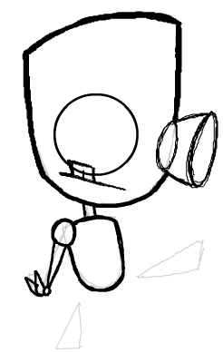 Step 7 : Drawing Robot GIR from Invader Zim Step by Step Tutorial