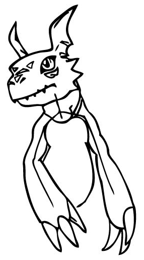 Step 8 : Drawing Guilmon from Digimon Step by Step Lesson for Kids