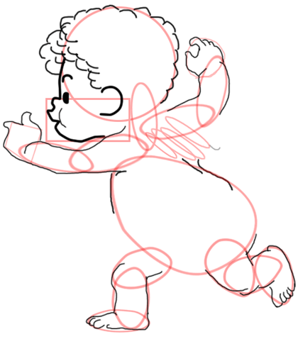Step 8 : Drawing Baby Cupid Step by Step Tutorial