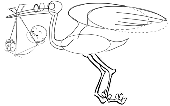 Step 8 : Drawing Cartoon Storks and Babies in Easy Steps Lesson