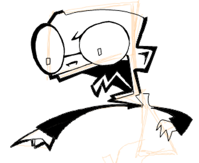 Step 8 : Drawing Dib from Invader Zim Easy Steps Lesson