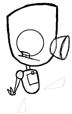 Step 8 : Drawing Robot GIR from Invader Zim Step by Step Tutorial