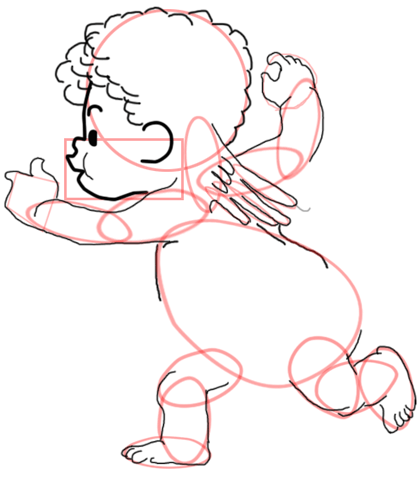 Step 9 : Drawing Baby Cupid Step by Step Tutorial