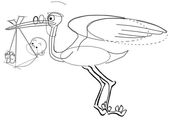 Step 9 : Drawing Cartoon Storks and Babies in Easy Steps Lesson