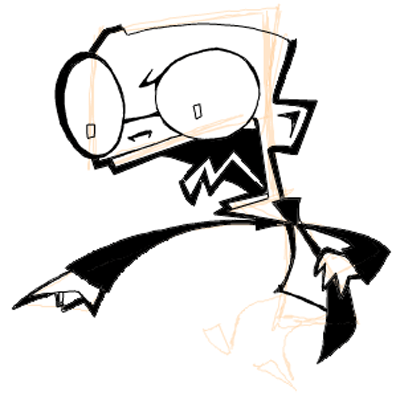 Step 9 : Drawing Dib from Invader Zim Easy Steps Lesson
