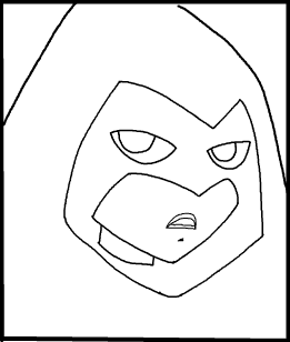 Step 9 : Drawing Raven from Teen Titans in Easy Steps Lesson