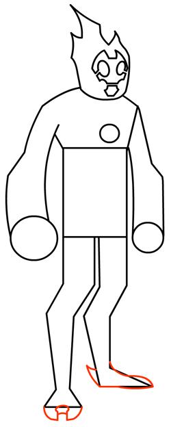 Step 10 : Drawing Heatblast in Easy Steps Tutorial for Kids