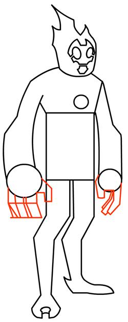 Step 11 : Drawing Heatblast in Easy Steps Tutorial for Kids