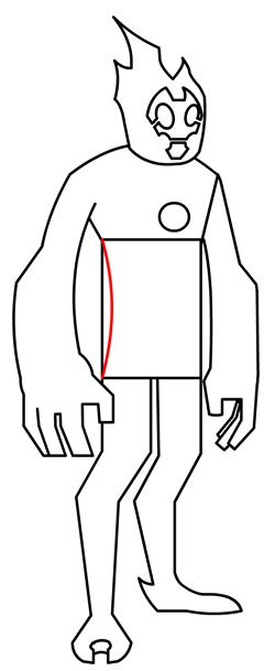 Step 12 : Drawing Heatblast in Easy Steps Tutorial for Kids