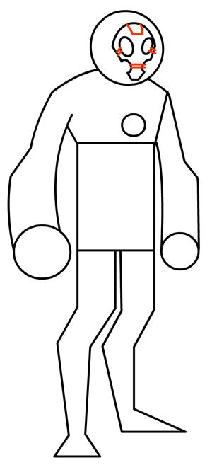 Step 8 : Drawing Heatblast in Easy Steps Tutorial for Kids
