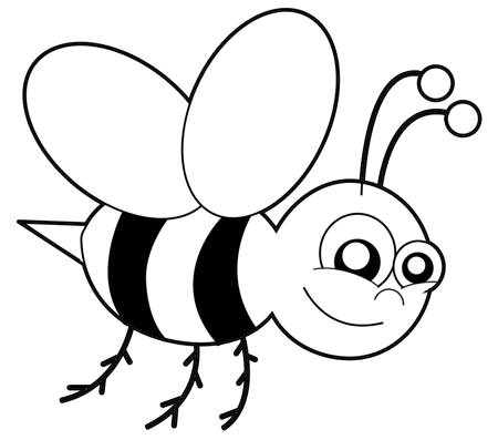 Simple bee drawing - photo#6