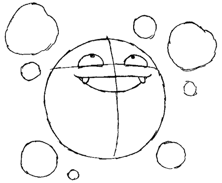 Step 3 : Drawing Koffing from Pokemon in Simple Steps Tutorial