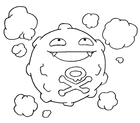 Step 5 : Drawing Koffing from Pokemon in Simple Steps Tutorial