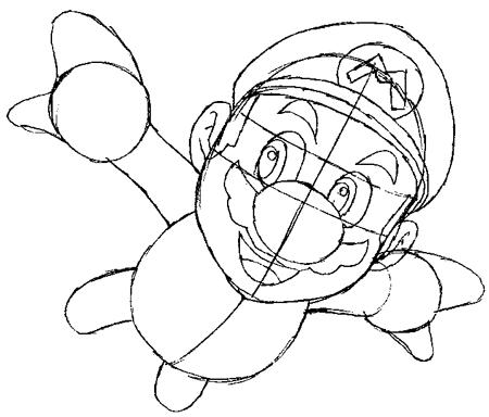 Step 5 : Drawing Mario Step by Step Tutorial