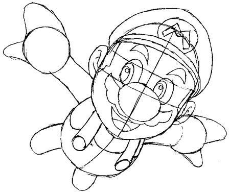 Step 6 : Drawing Mario Step by Step Tutorial