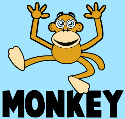 How to Draw Cartoon Monkeys with Easy Step by Step Drawing Tutorial for Kids