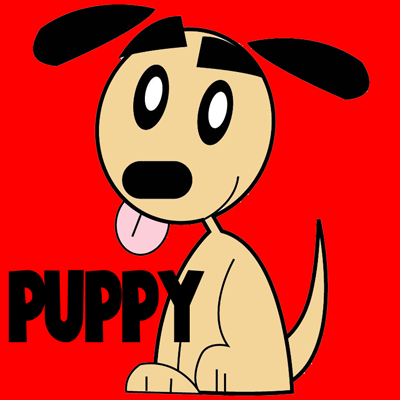 How To Draw Simple Cartoon Puppy With Step By Step Drawing Lesson