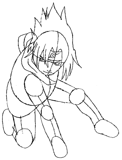 Step 5 : Drawing Sasuke Uchiha from Naruto in Simple Steps Lesson
