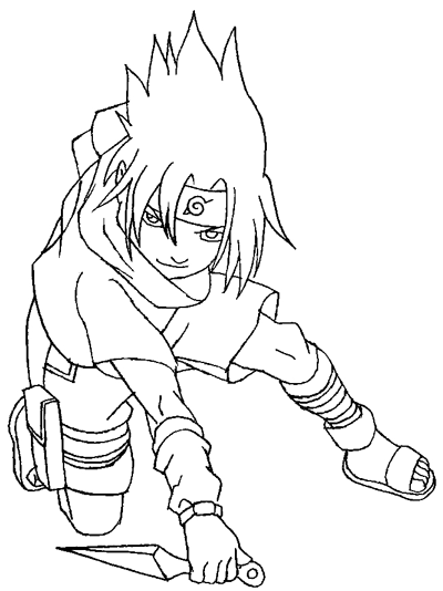Step 8 : Drawing Sasuke Uchiha from Naruto in Simple Steps Lesson