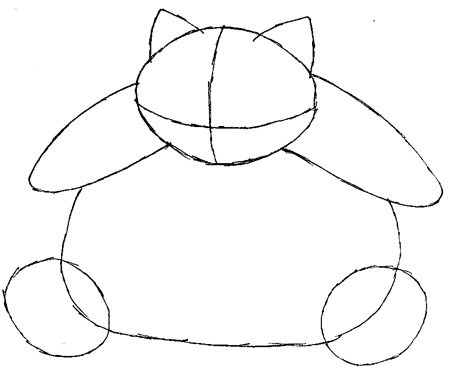 Step 4 : Drawing Snorlax in Easy Steps Tutorial for Kids