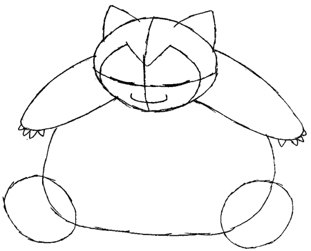 Step 5 : Drawing Snorlax in Easy Steps Tutorial for Kids