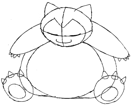 Step 6 : Drawing Snorlax in Easy Steps Tutorial for Kids