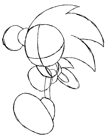 Step 4 drawing sonic the hedgehog running