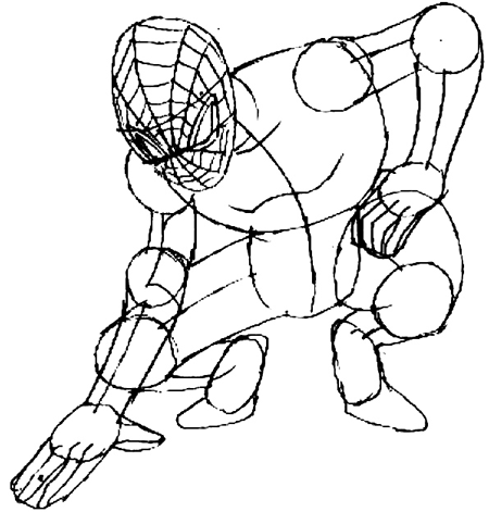 Step 6 : Drawing Spiderman step by step drawing lesson