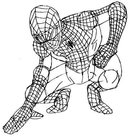 Step 7 : Drawing Spiderman step by step drawing lesson