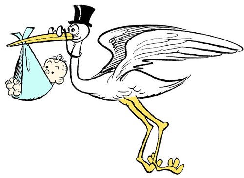How to Draw Cartoon Stork Holding Newborn Baby Drawing Tutorial