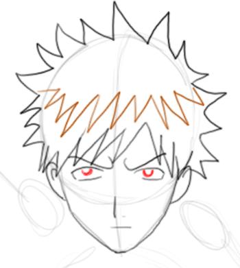 Step 4 : Drawing Ichigo Kurosaki in Simple Steps Tutorial