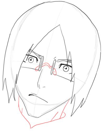 Step 7 Drawing Uryu Ishida from Bleach in Easy Steps Tutorial