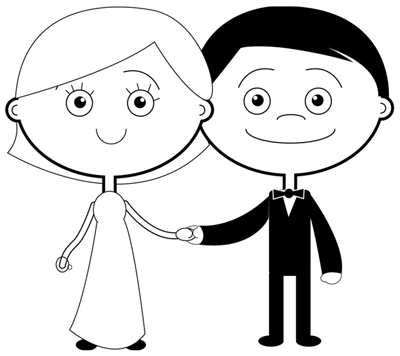Step 8 : Drawing Bride and Groom in Easy Steps Lesson