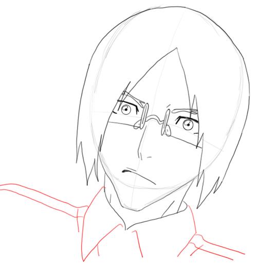 Step 8 Drawing Uryu Ishida from Bleach in Easy Steps Tutorial