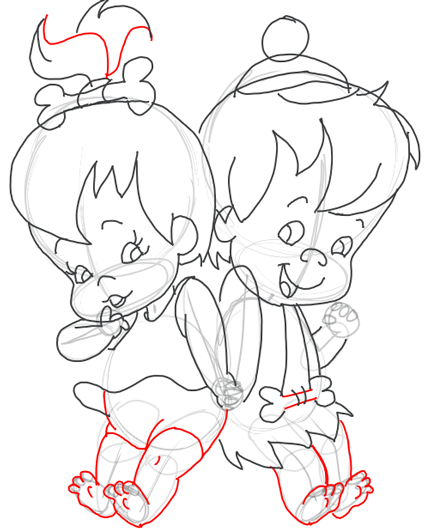 Step 10 : Drawing Pebbles and BamBam Step by Step Drawing Tutorial