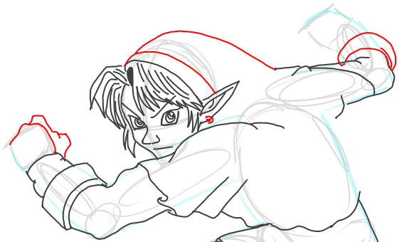 Step 10 : Drawing Link from Legend of Zelda in Easy Steps Lesson