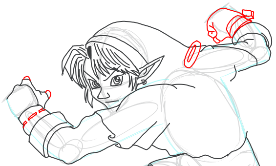 Step 11 : Drawing Link from Legend of Zelda in Easy Steps Lesson