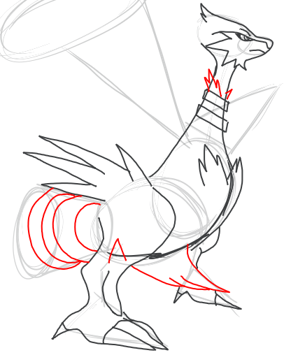 Step 11 : Drawing Reshiram in Easy Step by Step Tutorial