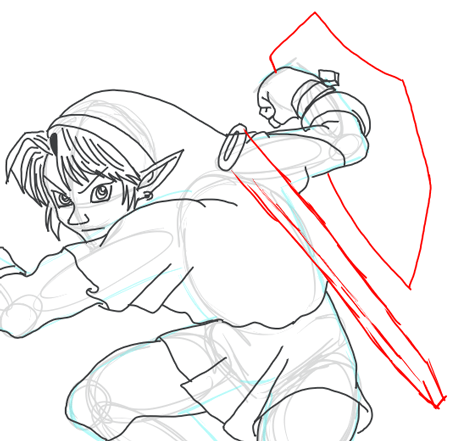 Step 12 : Drawing Link from Legend of Zelda in Easy Steps Lesson2