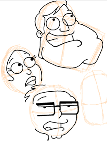 Step 12 : Drawing American Dad Family Step by Step Lesson